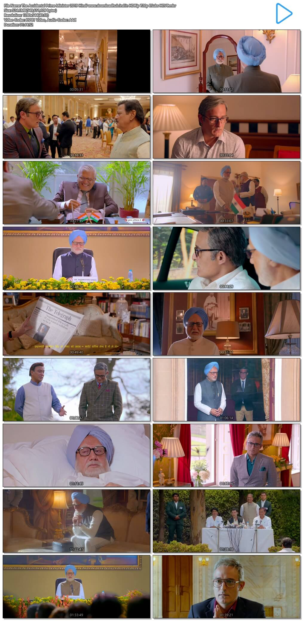 The Accidental Prime Minister 2019 Hindi 500MB HDRip 720p ESubs HEVC
