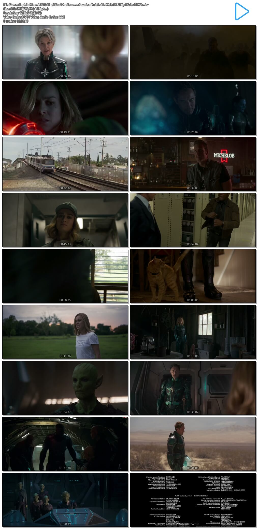 Captain Marvel 2019 Hindi Dual Audio 600MB Web-DL 720p ESubs HEVC