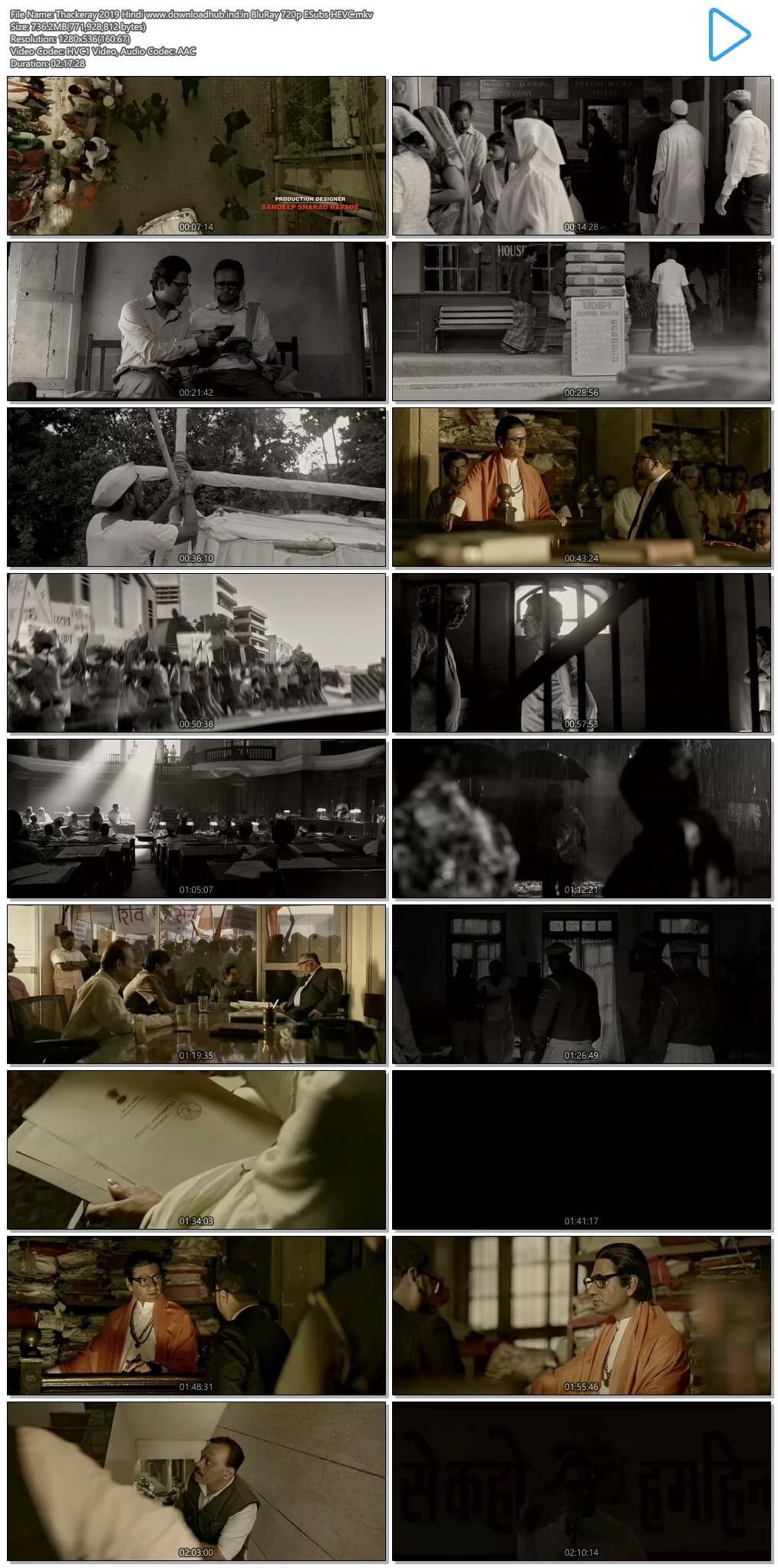 Thackeray 2019 Hindi 700MB BluRay 720p ESubs HEVC