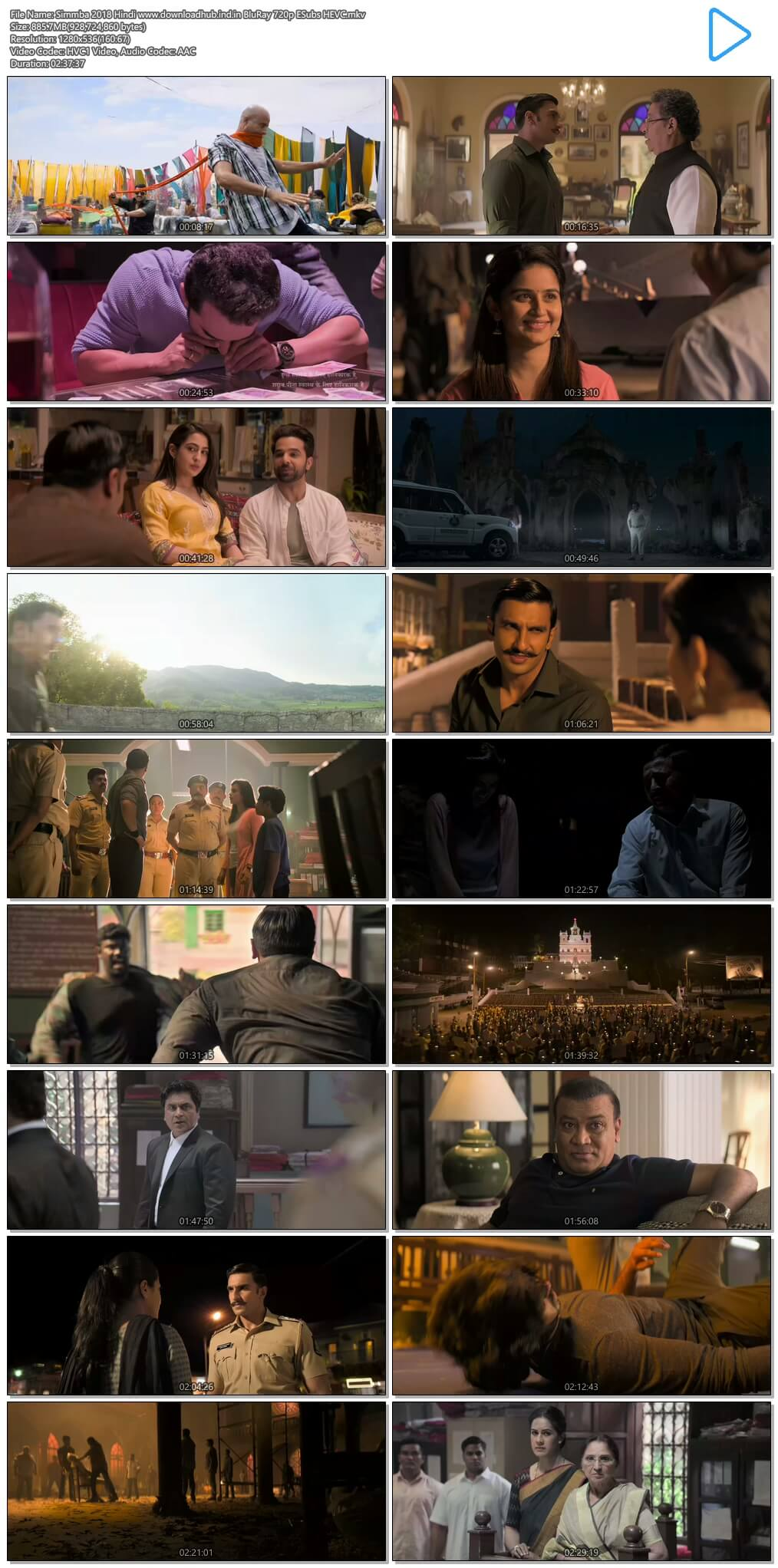 Simmba 2018 Hindi 850MB BluRay 720p ESubs HEVC