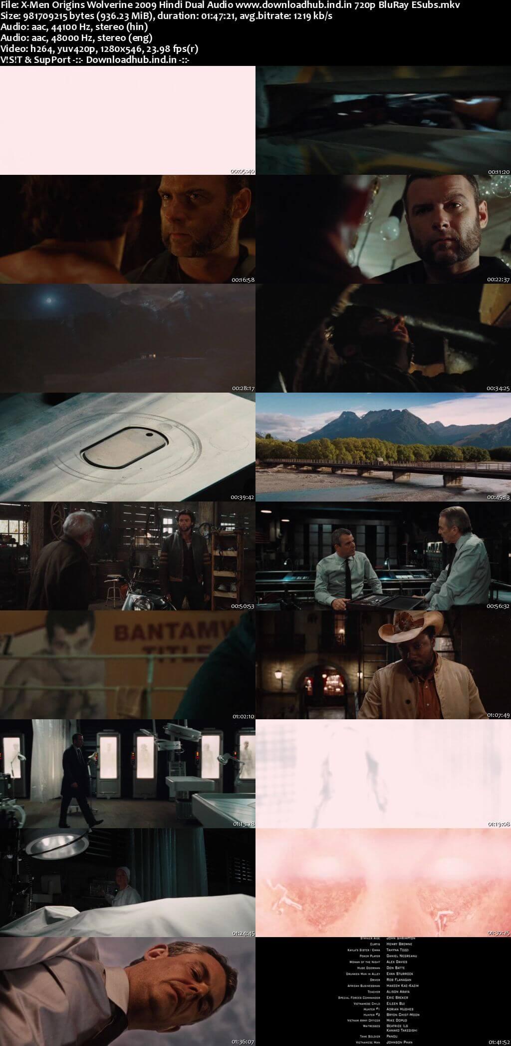 X-Men Origins Wolverine 2009 Hindi Dual Audio 720p BluRay ESubs