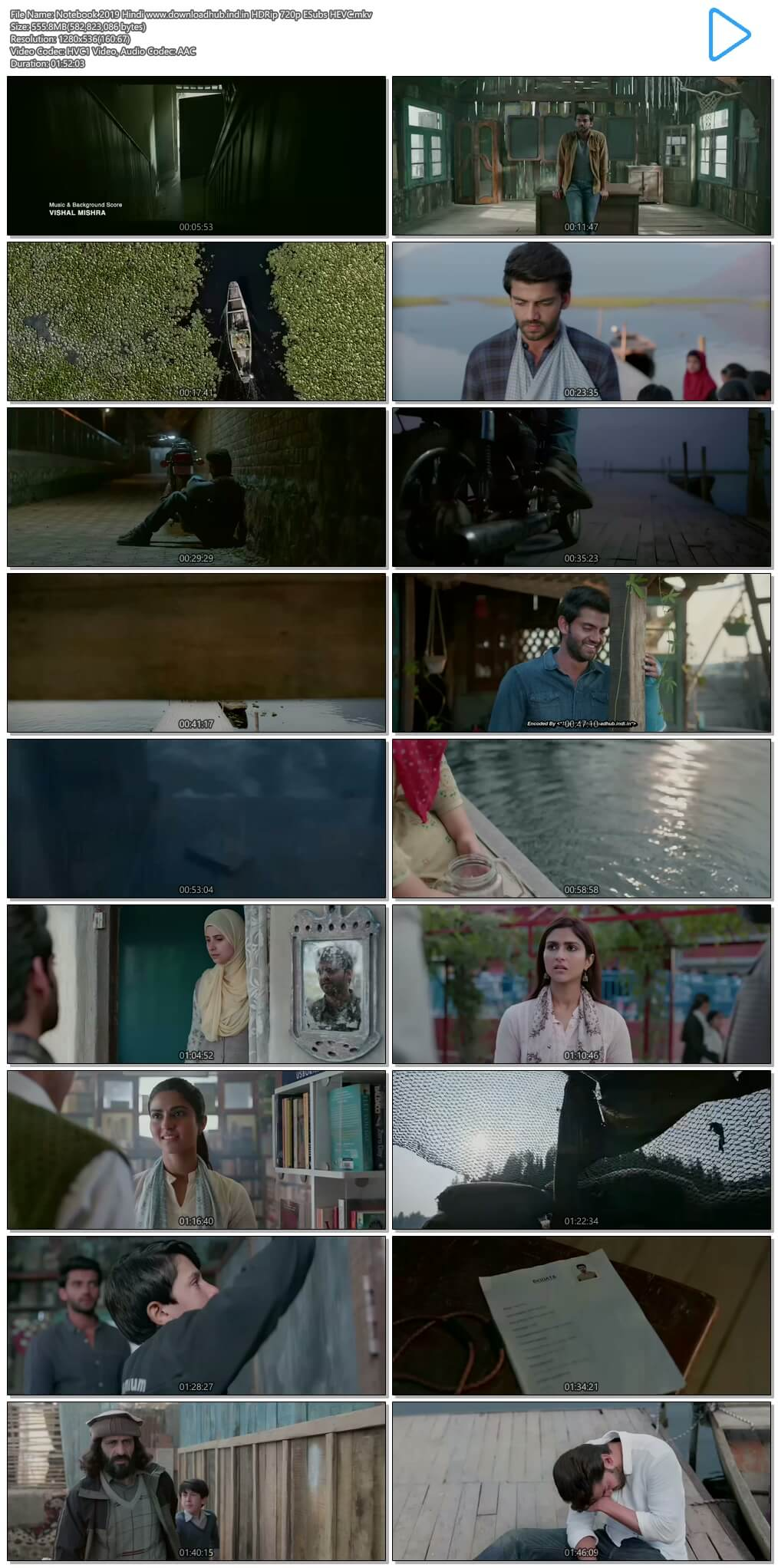 Notebook 2019 Hindi 550MB HDRip 720p ESubs HEVC