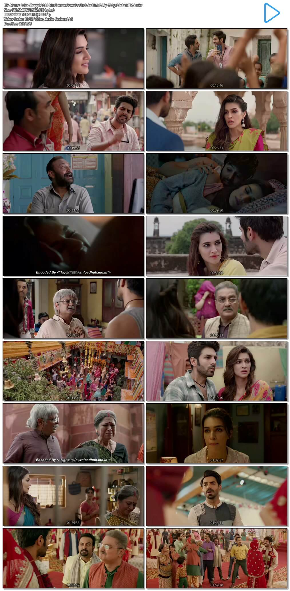Luka Chuppi 2019 Hindi 650MB HDRip 720p ESubs HEVC