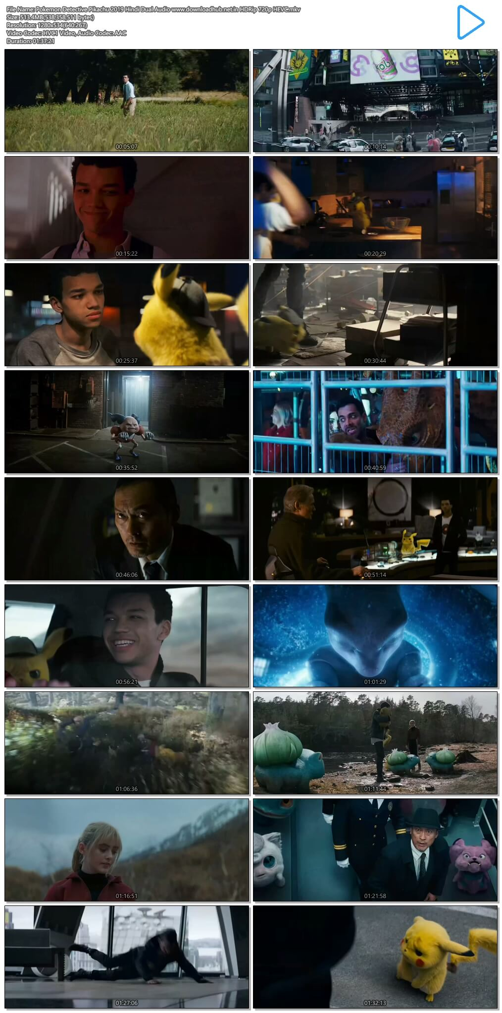 Pokemon Detective Pikachu 2019 Hindi Dual Audio 500MB HDRip 720p HEVC