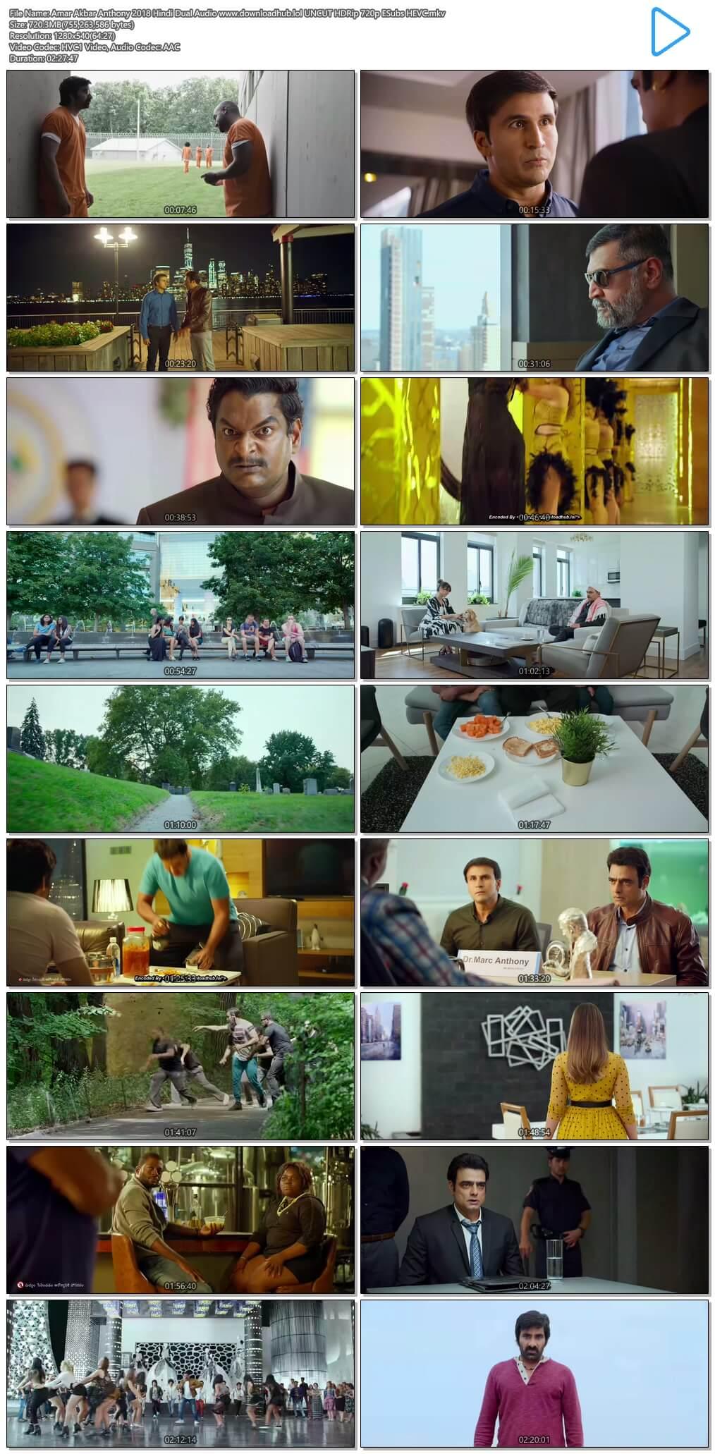 Amar Akbar Anthony 2018 Hindi Dual Audio 700MB UNCUT HDRip 720p ESubs HEVC