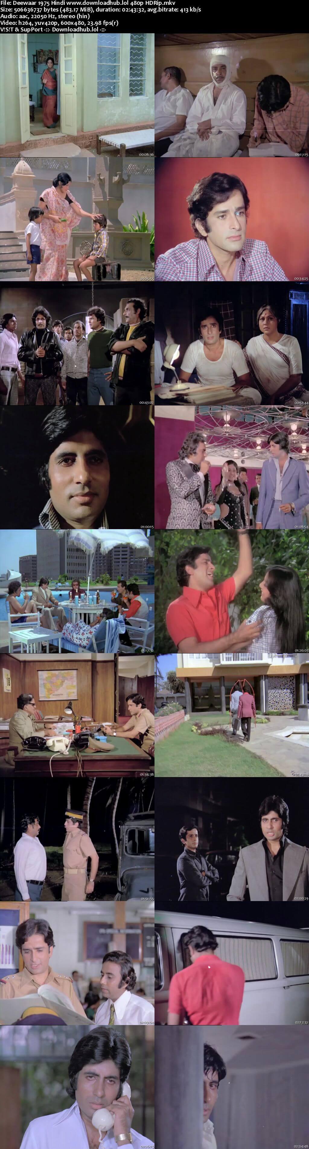 Deewaar 1975 Hindi 450MB HDRip 480p