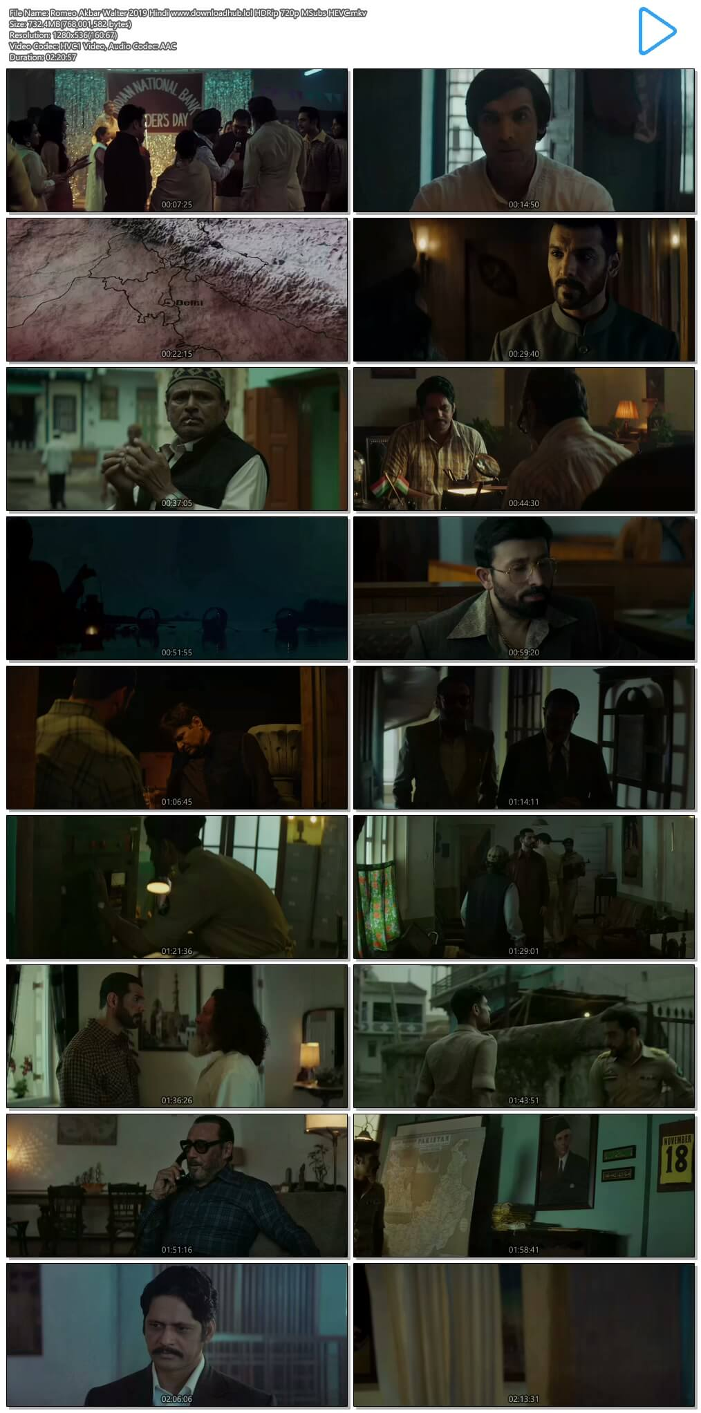 Romeo Akbar Walter 2019 Hindi 700MB HDRip 720p MSubs HEVC