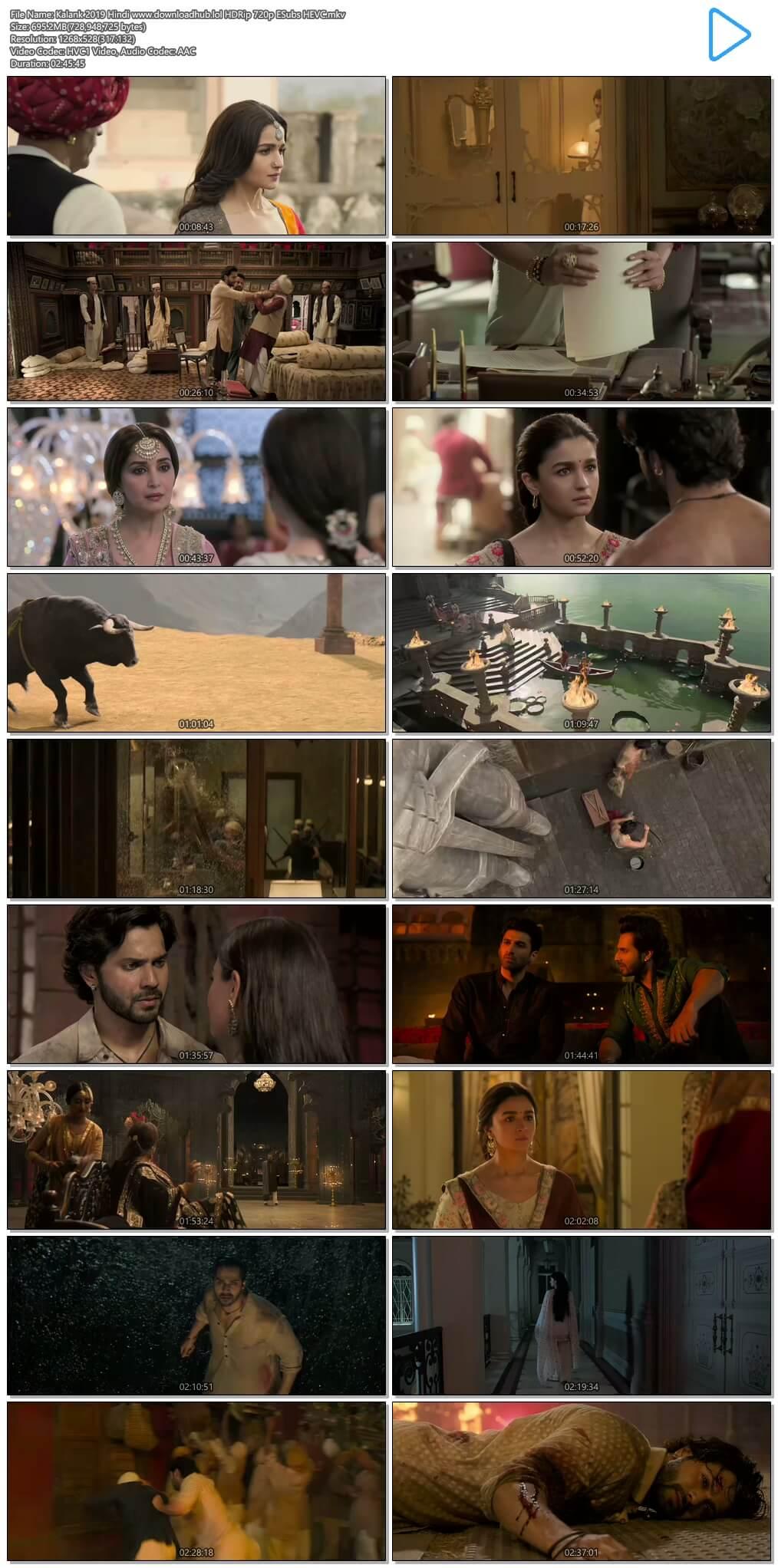 Kalank 2019 Hindi 700MB HDRip 720p ESubs HEVC