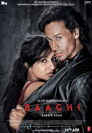 Poster of Baaghi 2016 Full Hindi Free Download Watch Online In HD Movie Download 1080p BluRay