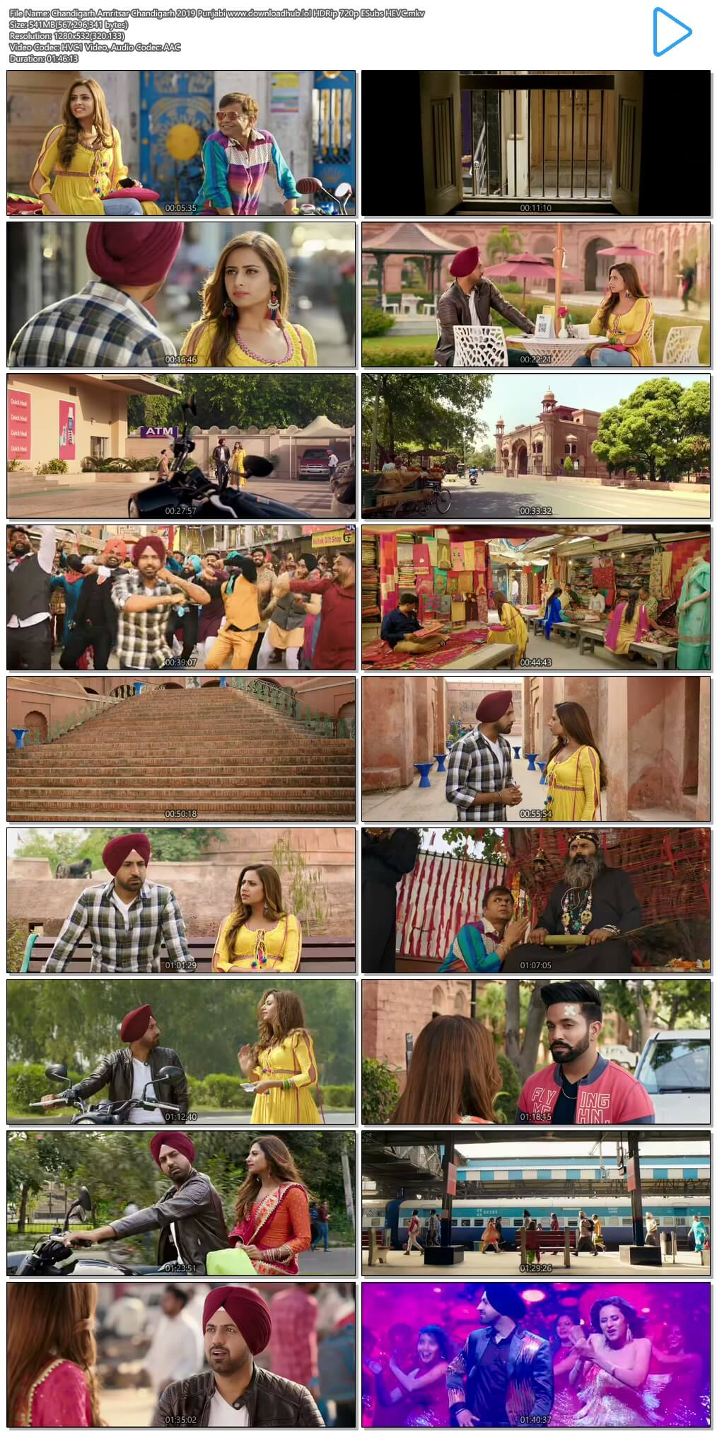 Chandigarh Amritsar Chandigarh 2019 Punjabi 500MB HDRip 720p ESubs HEVC