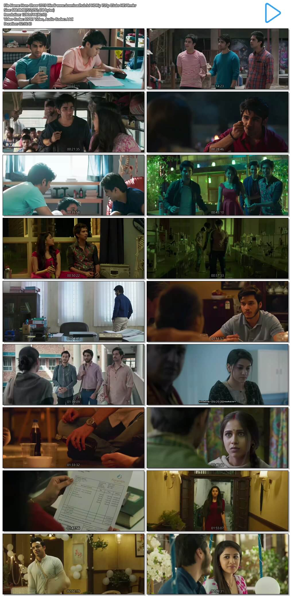 Hum Chaar 2019 Hindi 650MB HDRip 720p ESubs HEVC