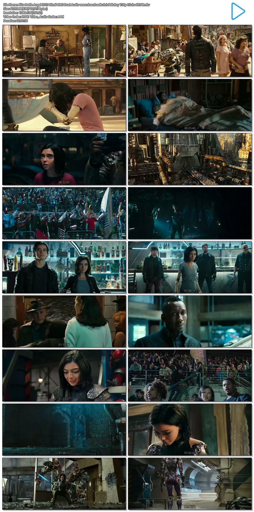Alita Battle Angel 2019 Hindi ORG Dual Audio 600MB BluRay 720p ESubs HEVC