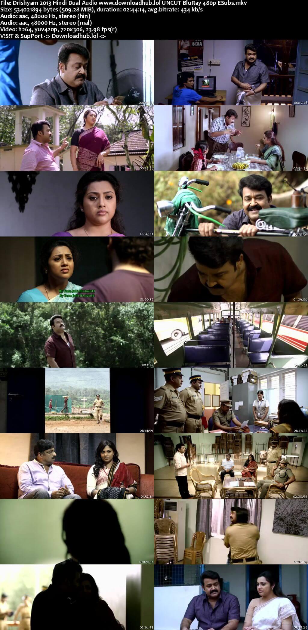 Drishyam 2013 Hindi Dual Audio 500MB UNCUT BluRay 480p ESubs