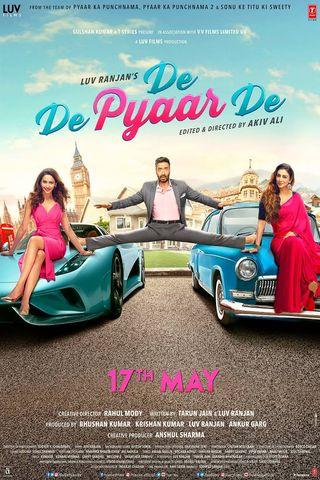 Poster of De De Pyaar De 2019 Full Hindi Free Download Watch Online In HD Movie Download 480p HDRip