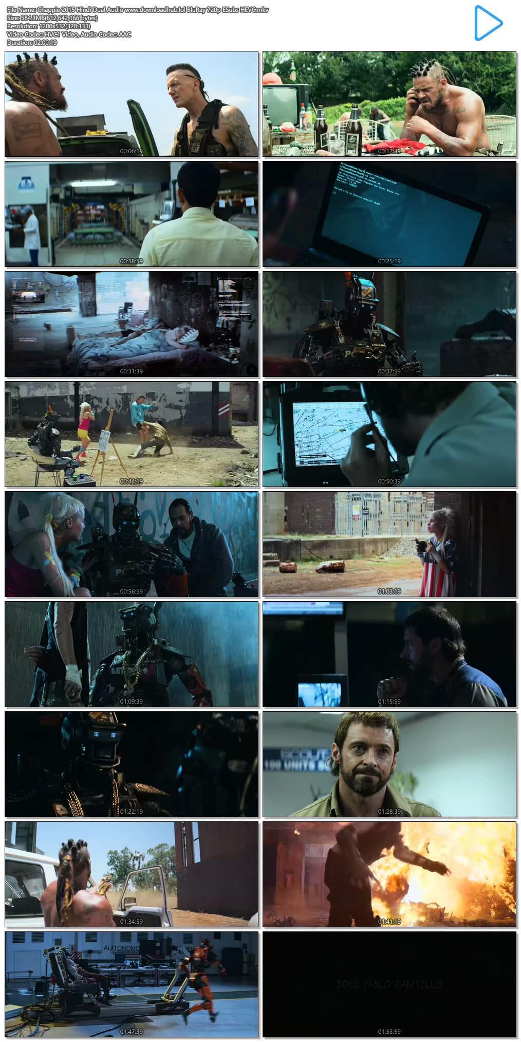 Chappie 2015 Hindi Dual Audio 550MB BluRay 720p ESubs HEVC