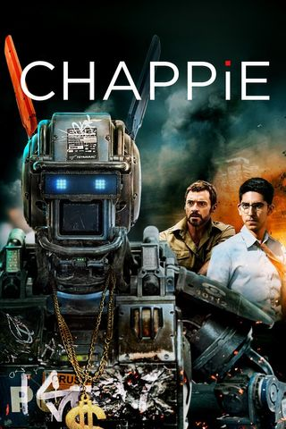 Poster of Chappie 2015 Full Hindi Dual Audio Movie Download BluRay Hd 720p