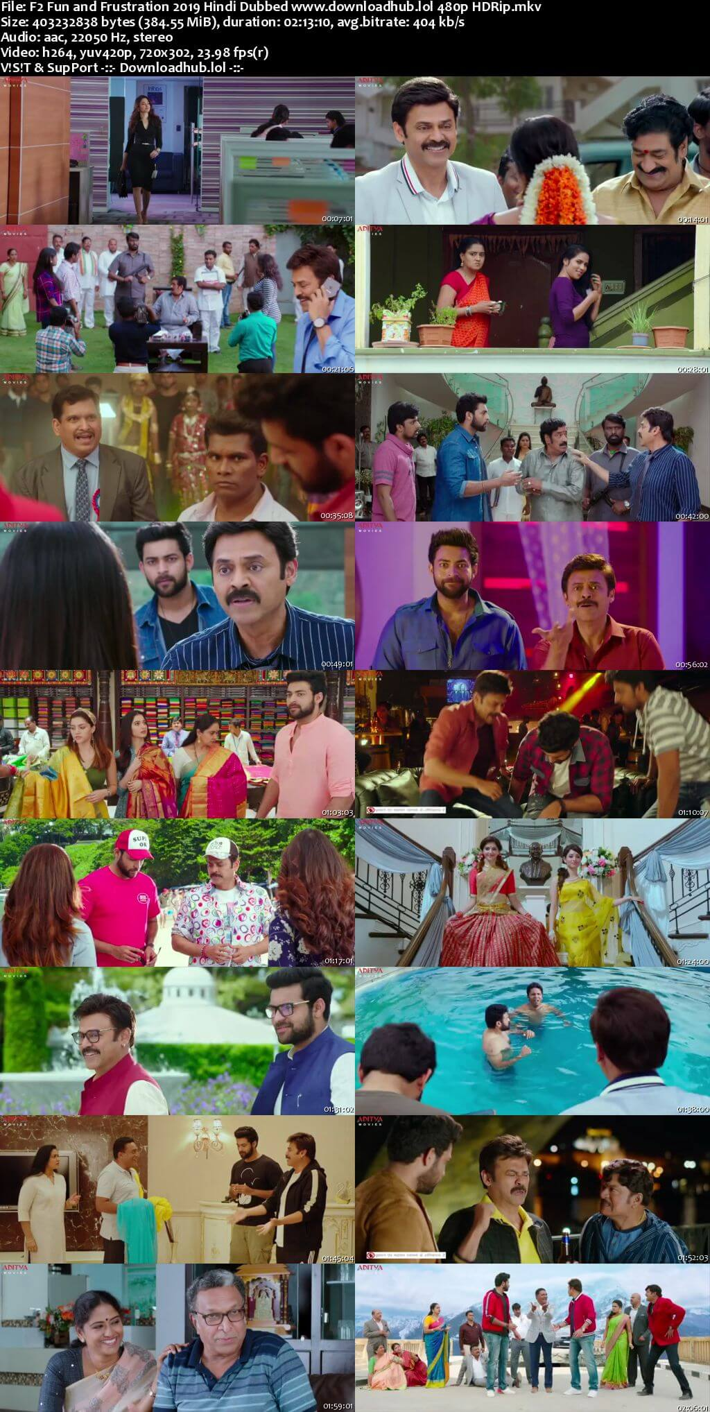 F2 Fun and Frustration 2019 Hindi Dubbed 350MB HDRip 480p