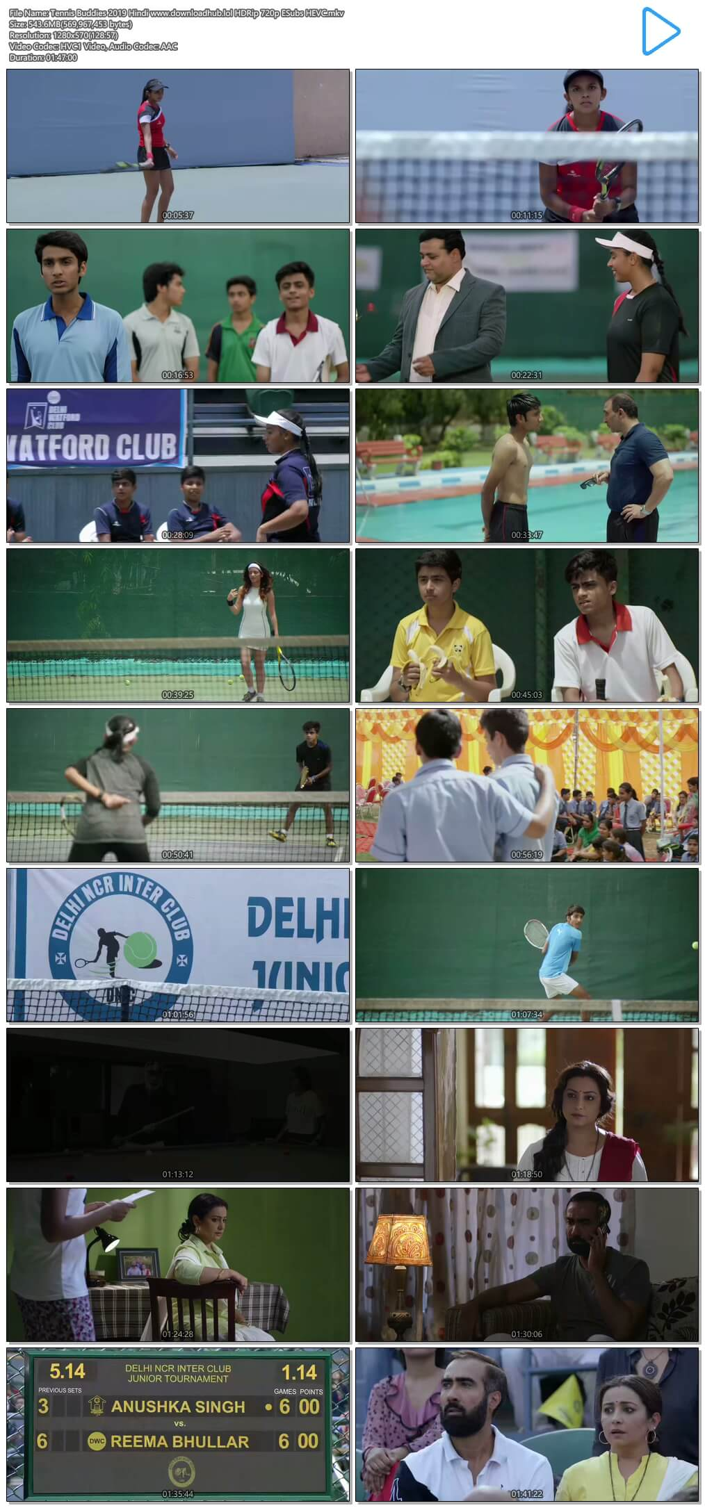 Tennis Buddies 2019 Hindi 500MB HDRip 720p ESubs HEVC