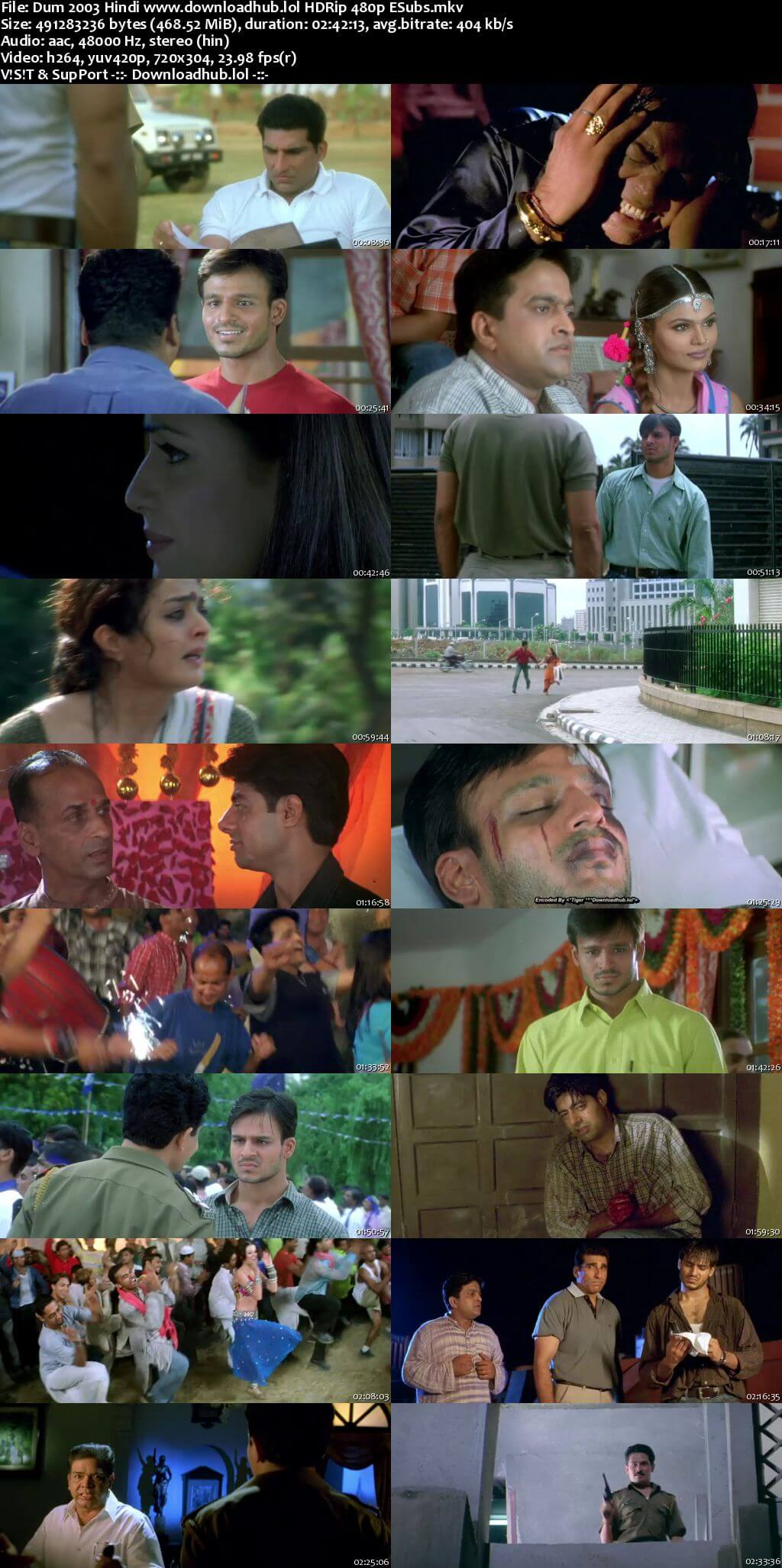 Dum 2003 Hindi 450MB HDRip 480p ESubs