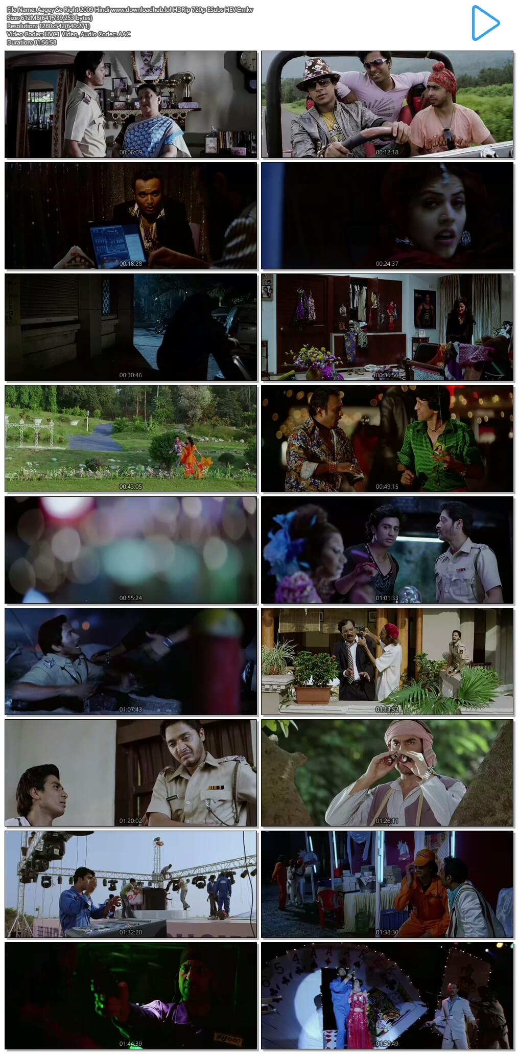 Aagey Se Right 2009 Hindi 600MB HDRip 720p ESubs HEVC