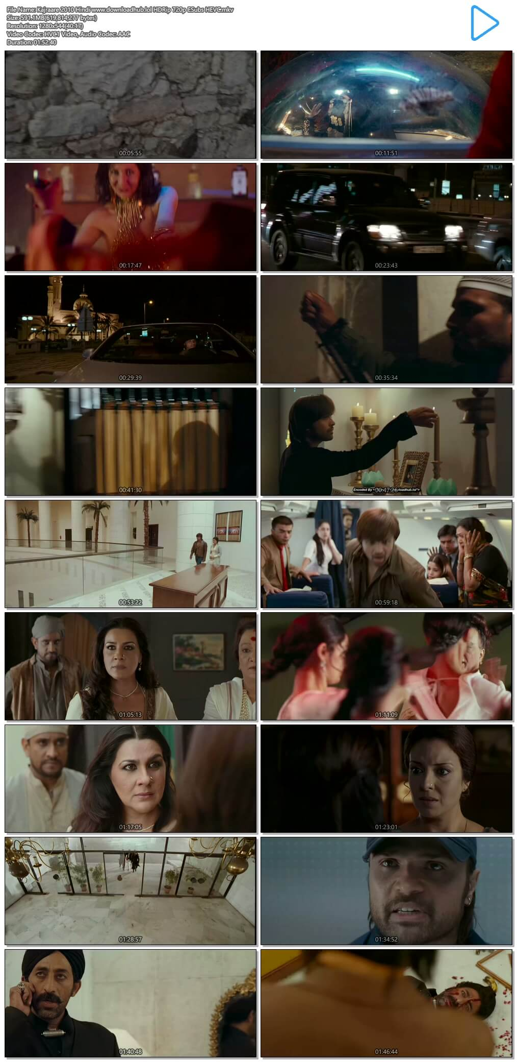 Kajraare 2010 Hindi 550MB HDRip 720p ESubs HEVC