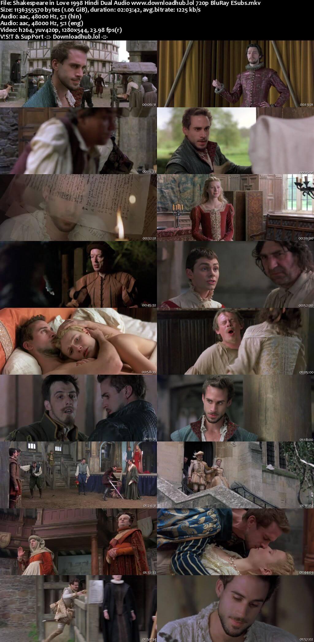 Shakespeare in Love 1998 Hindi Dual Audio 720p BluRay ESubs