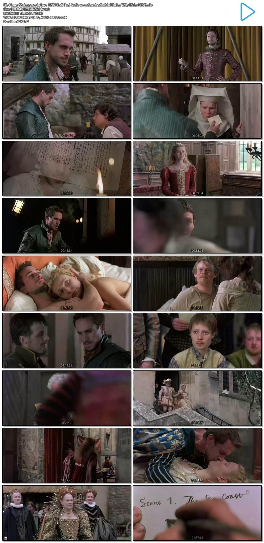 Shakespeare in Love 1998 Hindi Dual Audio 600MB BluRay 720p ESubs HEVC