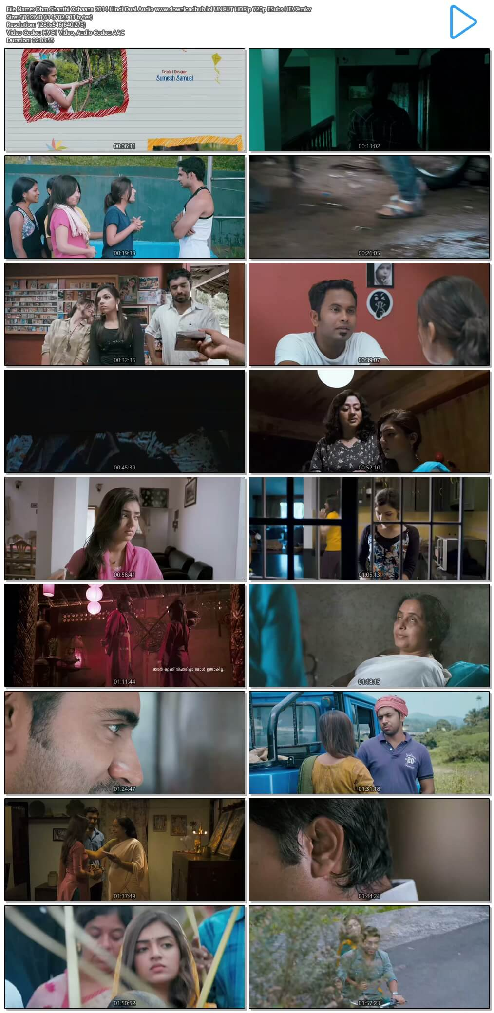 Ohm Shanthi Oshaana 2014 Hindi Dual Audio 550MB UNCUT HDRip 720p ESubs HEVC