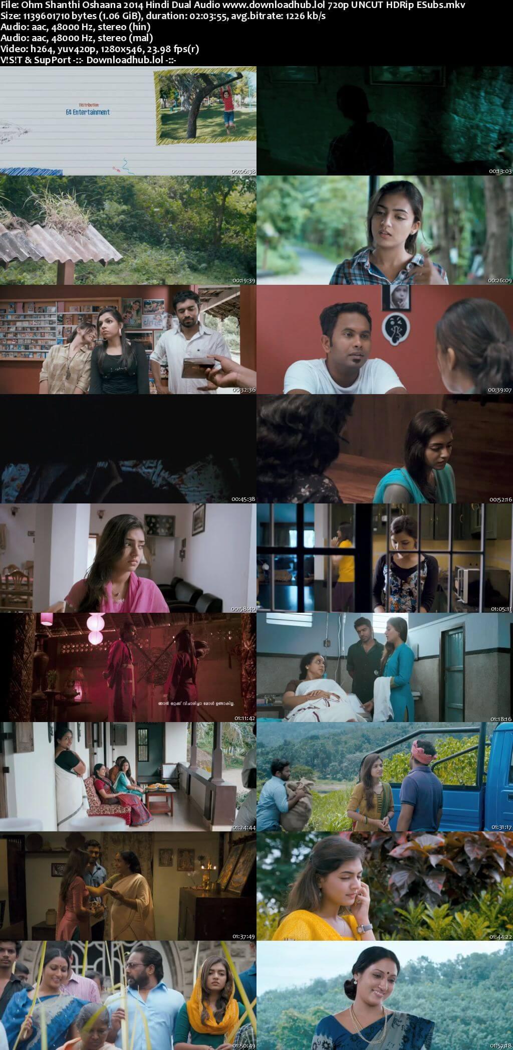 Ohm Shanthi Oshaana 2014 Hindi Dual Audio 720p UNCUT HDRip ESubs