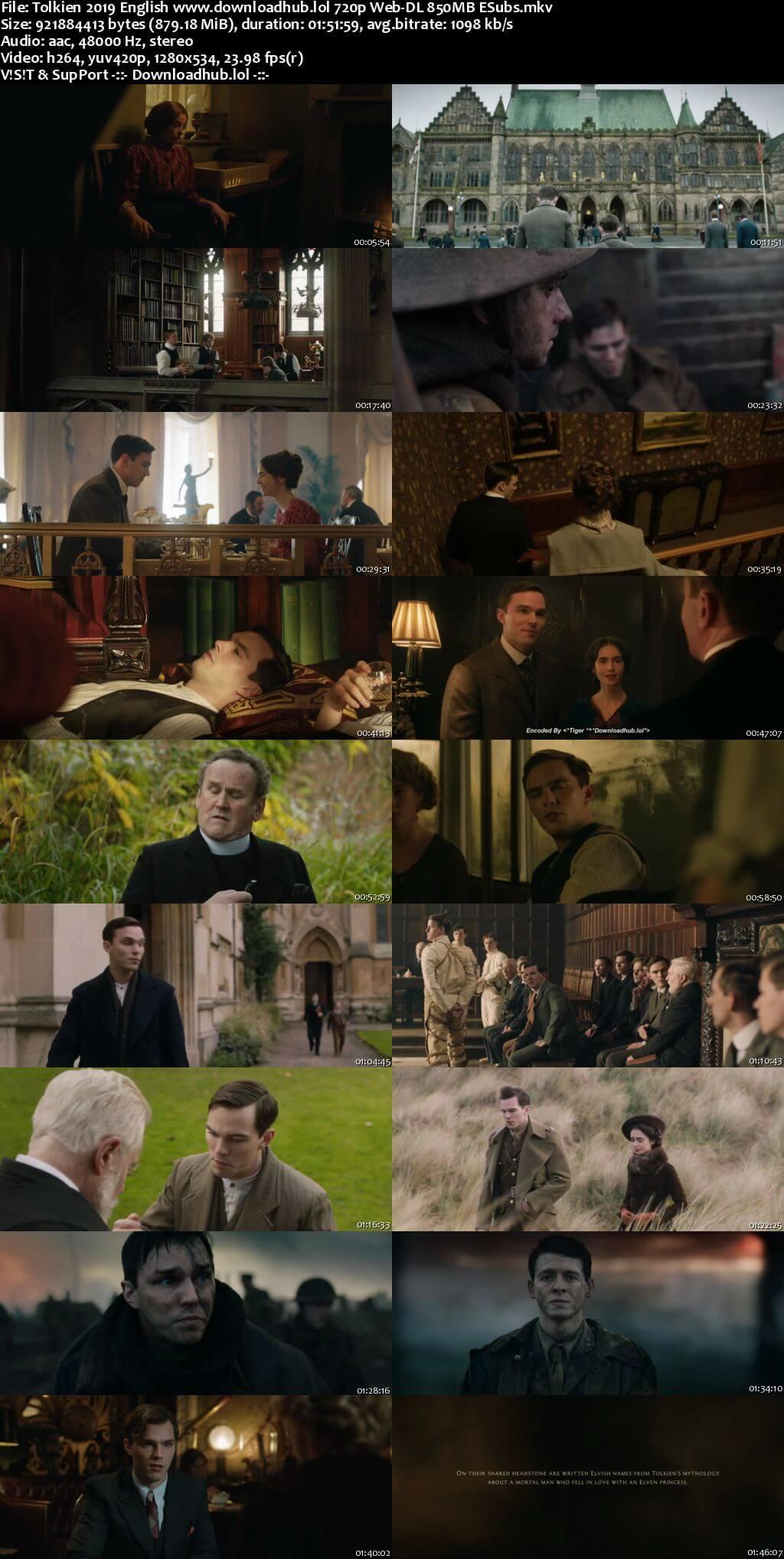 Tolkien 2019 English 720p Web-DL 850MB ESubs