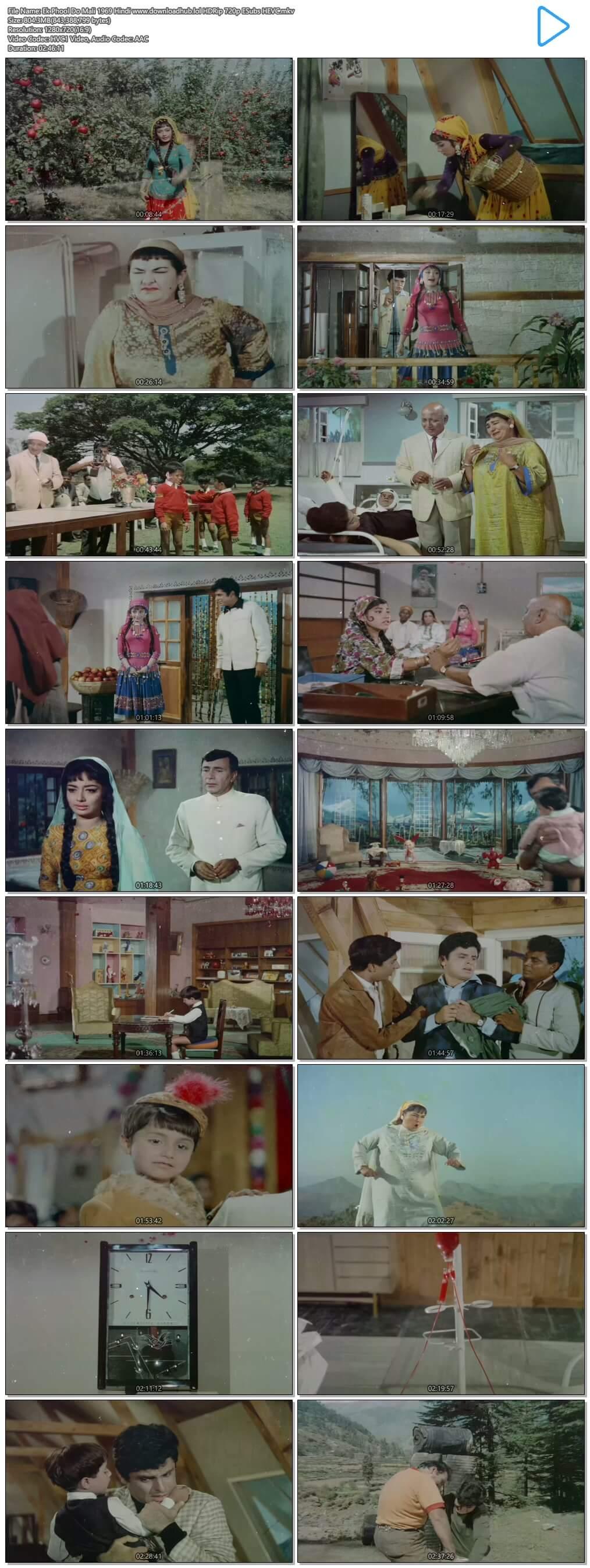 Ek Phool Do Mali 1969 Hindi 800MB HDRip 720p ESubs HEVC