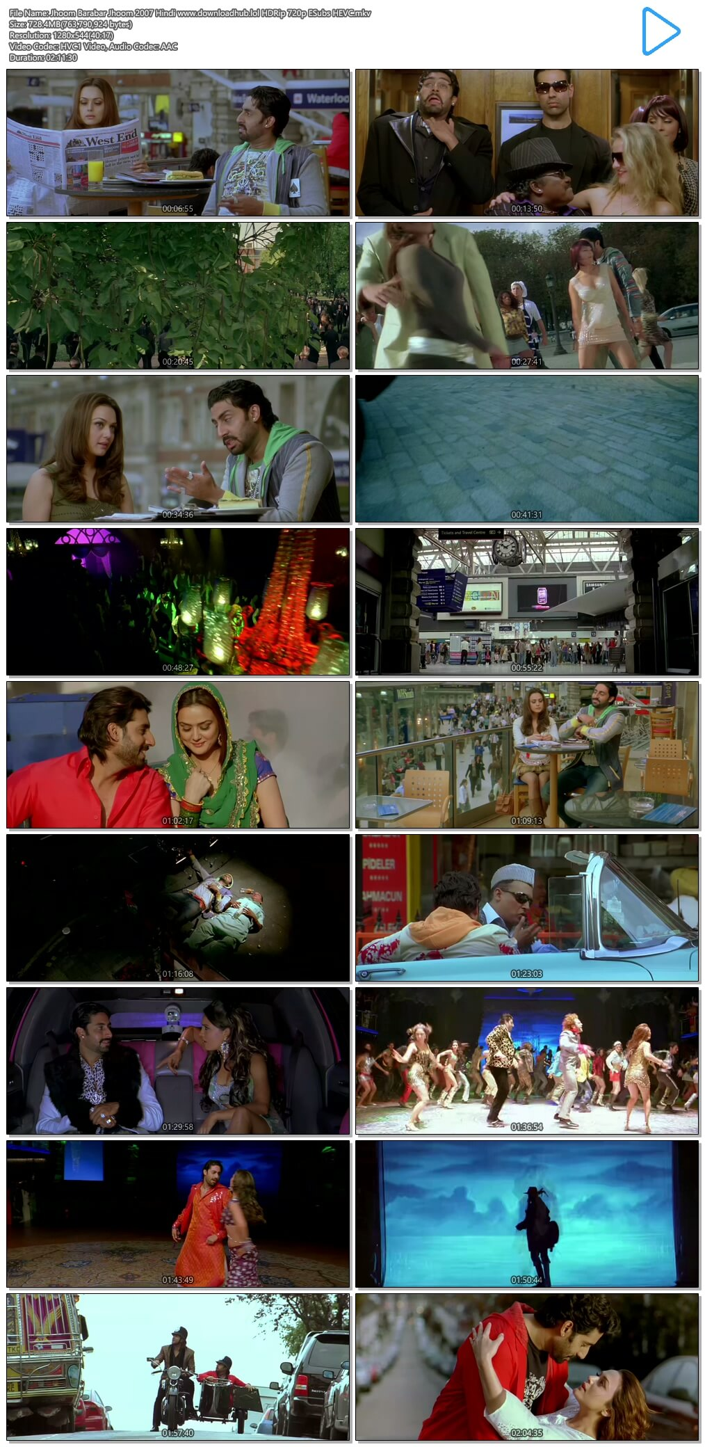 Jhoom Barabar Jhoom 2007 Hindi 700MB HDRip 720p ESubs HEVC