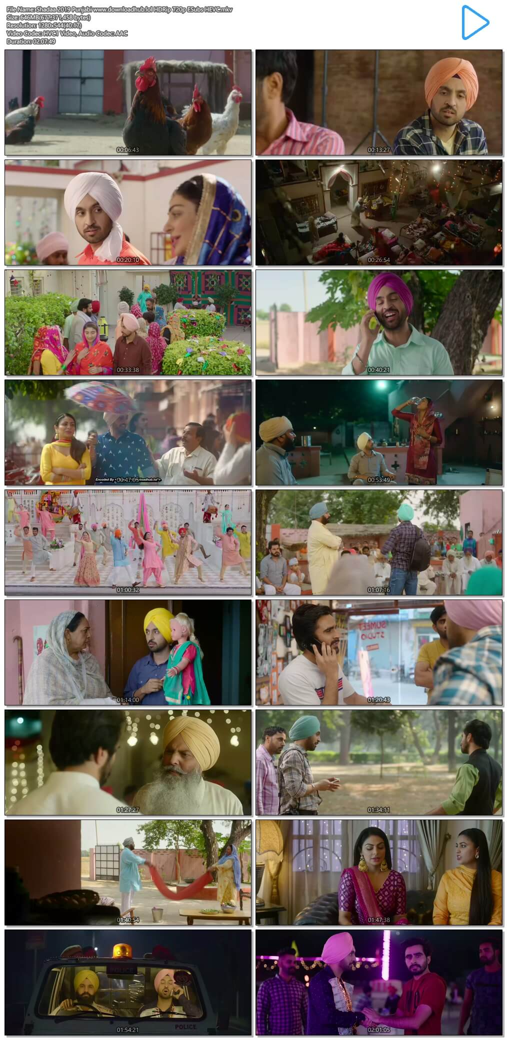 Shadaa 2019 Punjabi 650MB HDRip 720p ESubs HEVC