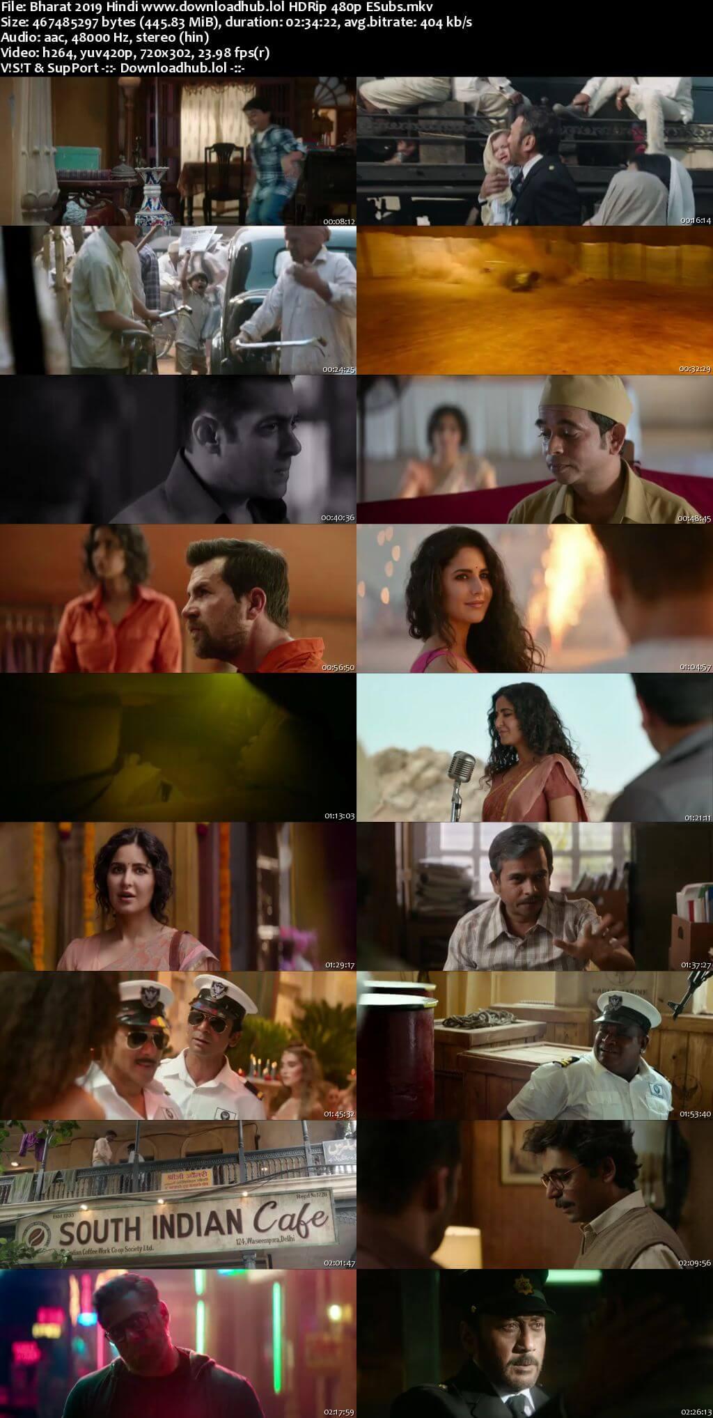 Bharat 2019 Hindi 450MB HDRip 480p ESubs