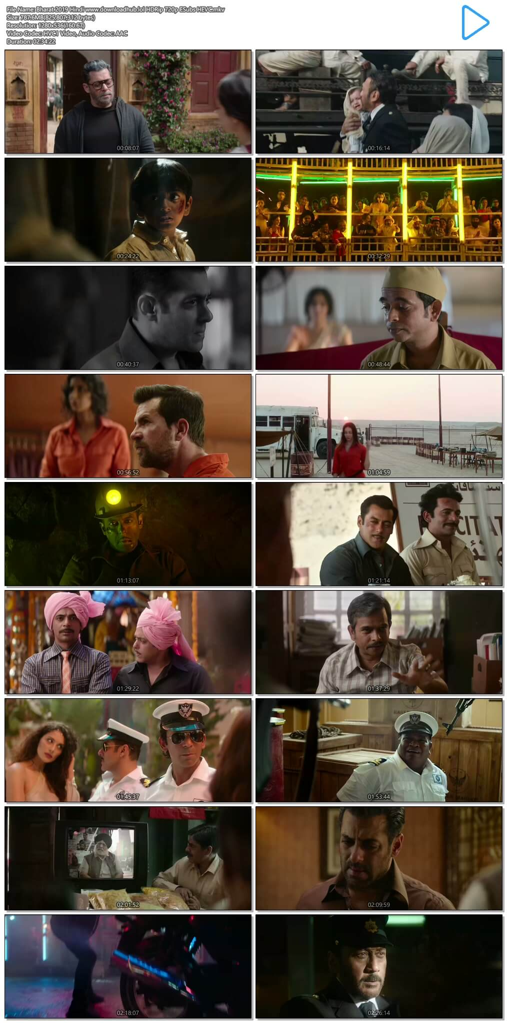 Bharat 2019 Hindi 750MB HDRip 720p ESubs HEVC