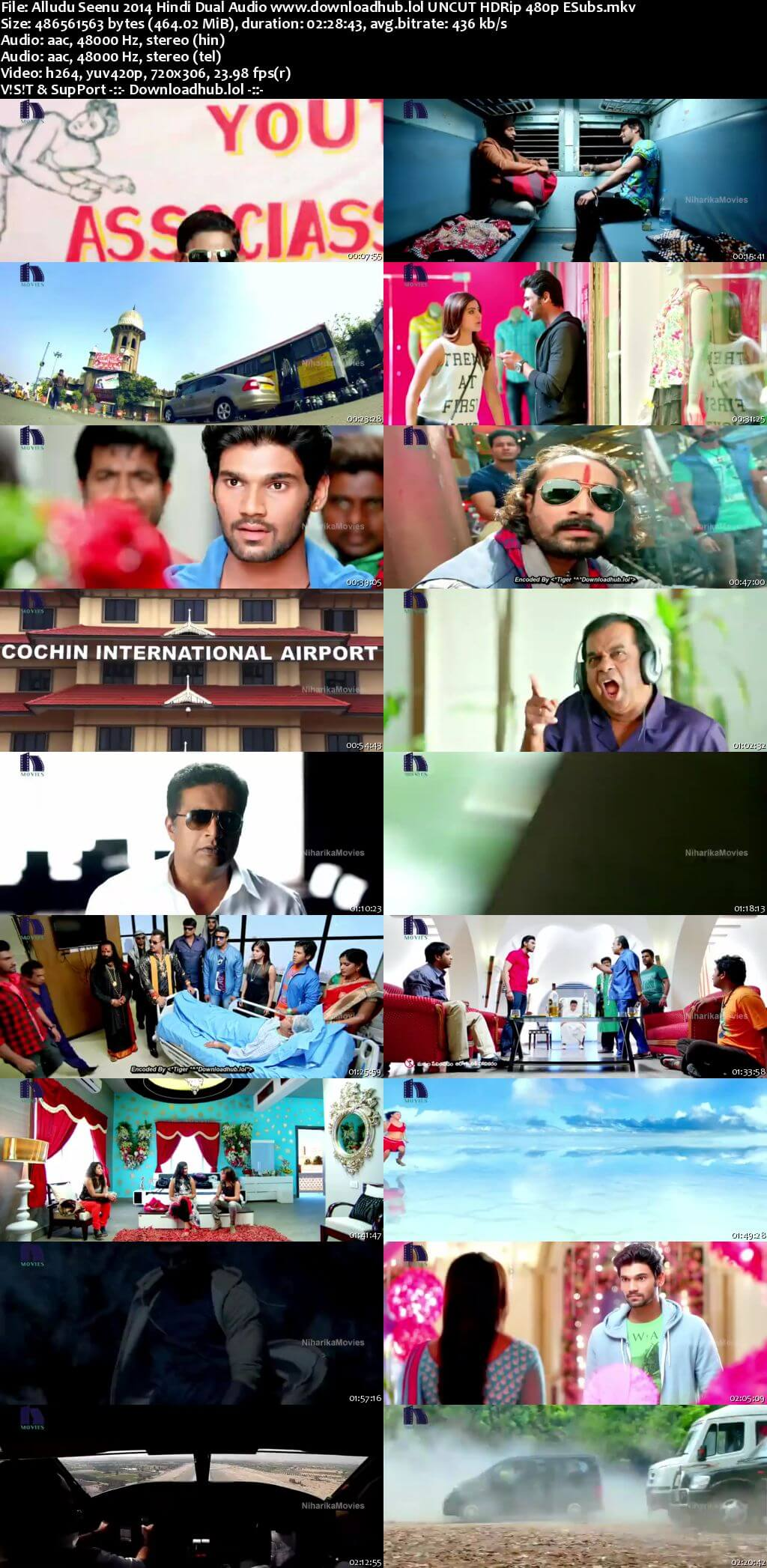 Alludu Seenu 2014 Hindi Dual Audio 450MB UNCUT HDRip 480p ESubs