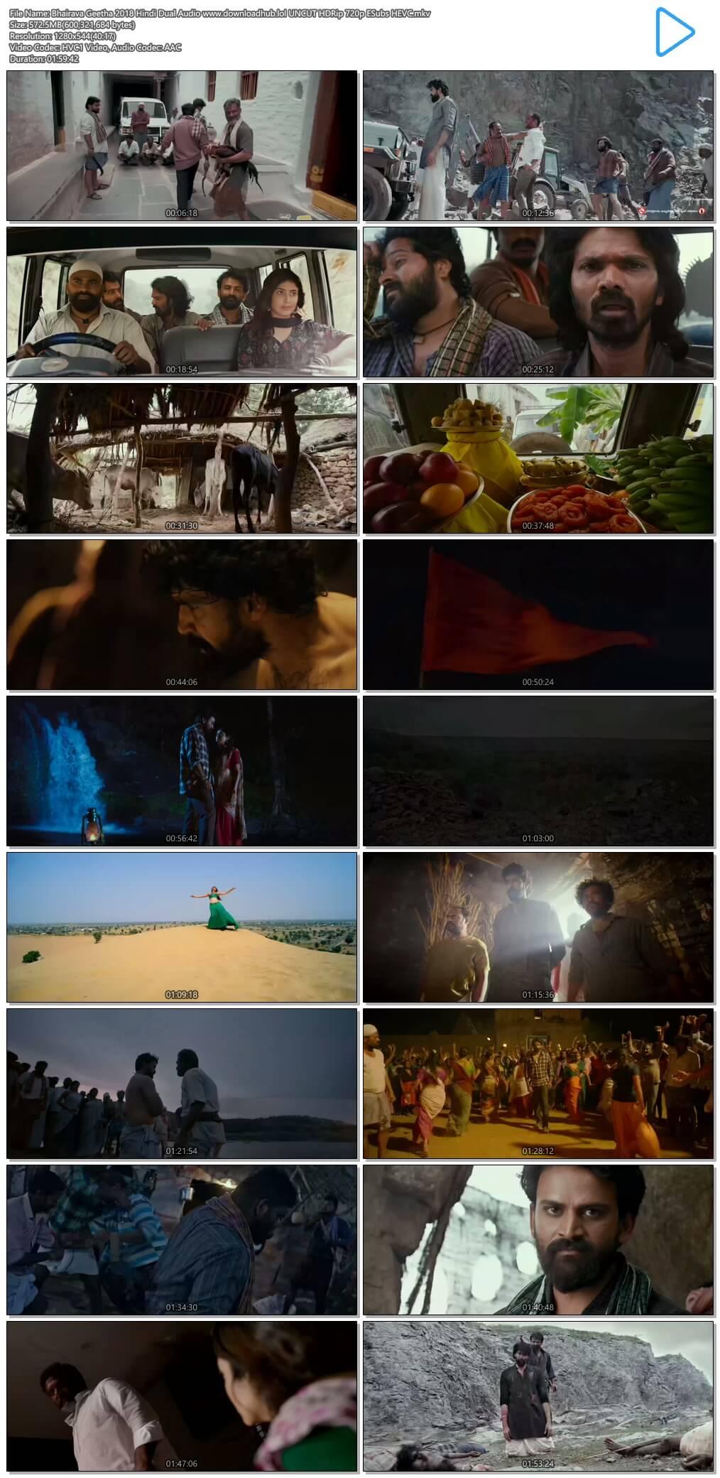 Bhairava Geetha 2018 Hindi Dual Audio 550MB UNCUT HDRip 720p ESubs HEVC