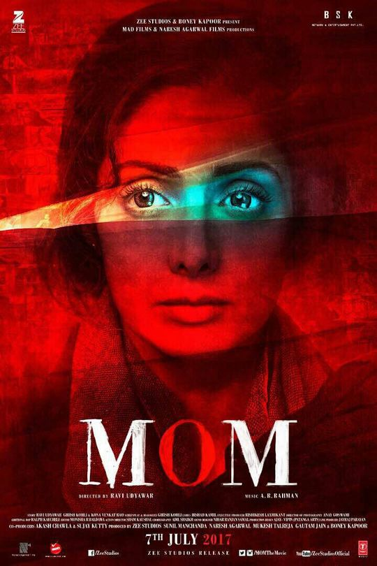 Poster of Mom 2017 Full Hindi Free Download Watch Online In HD Movie Download 480p BluRay