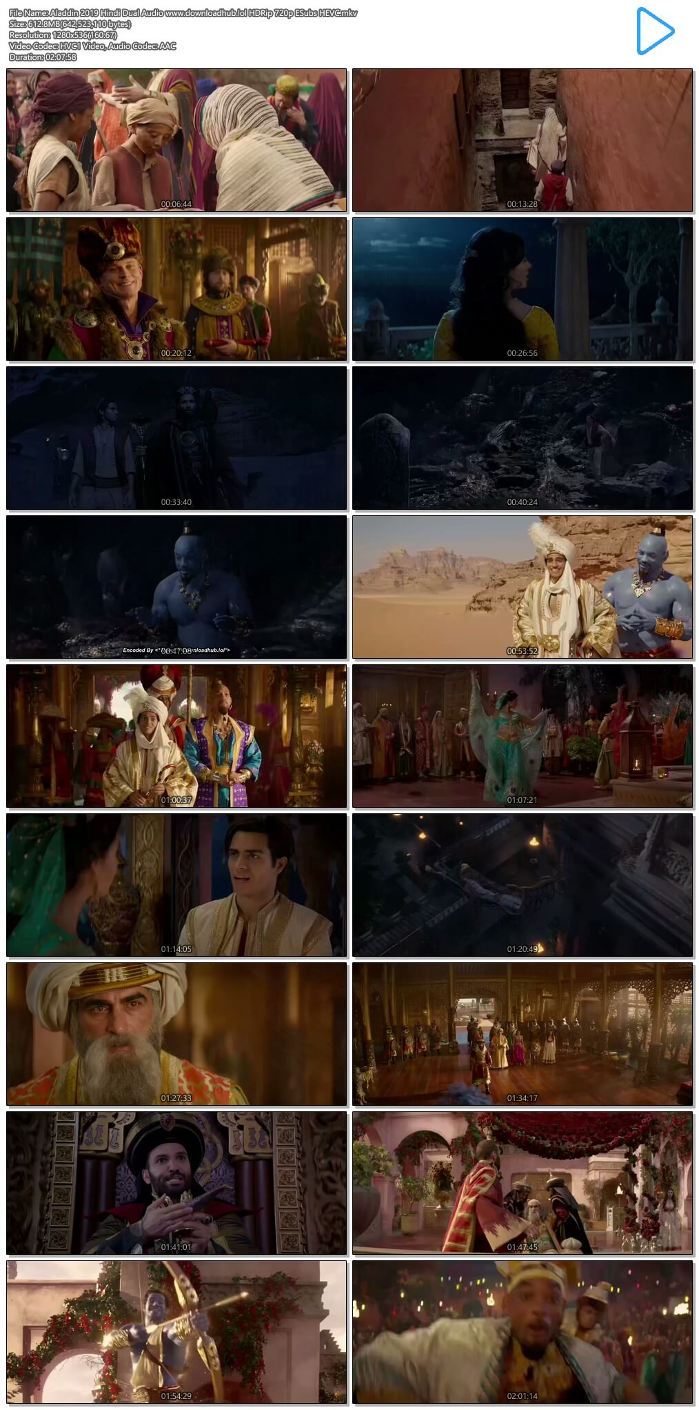 Aladdin 2019 Hindi Dual Audio 600MB HDRip 720p ESubs HEVC