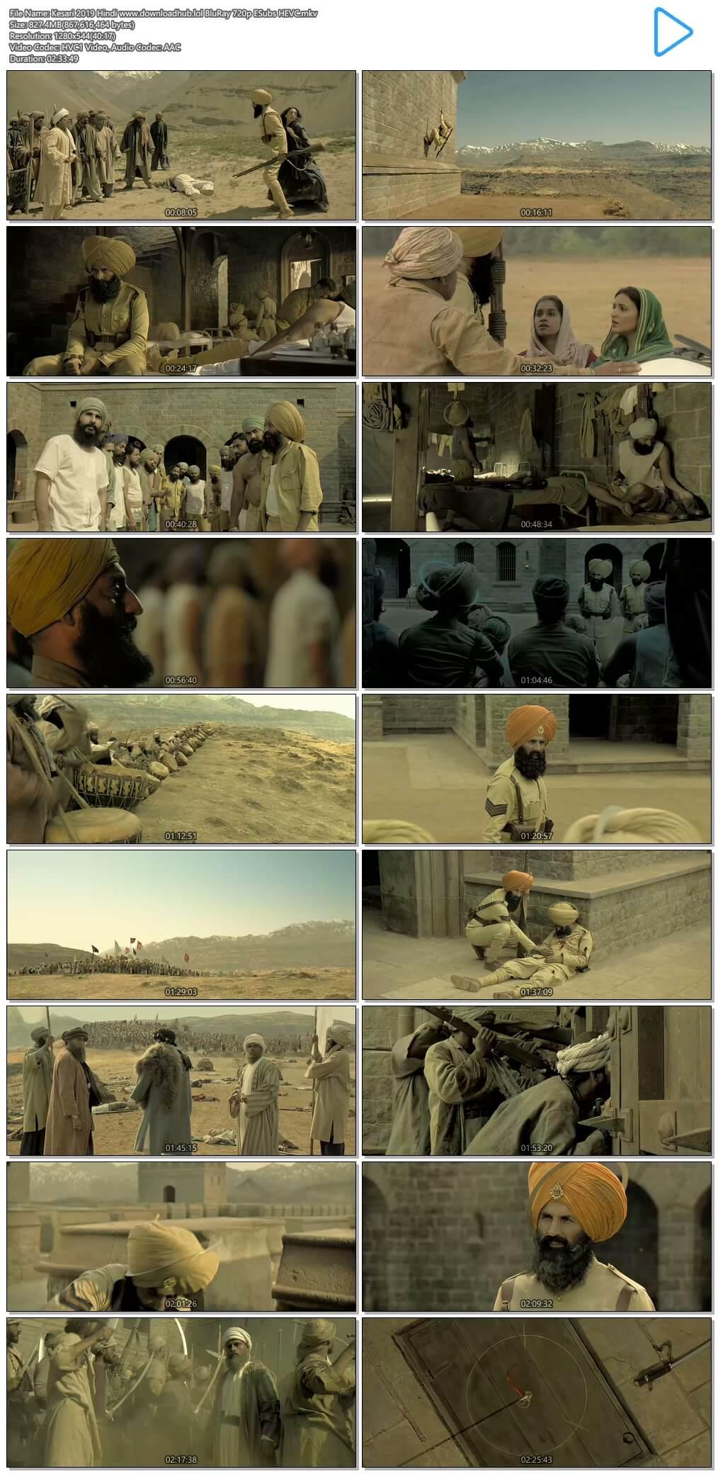 Kesari 2019 Hindi 800MB BluRay 720p ESubs HEVC