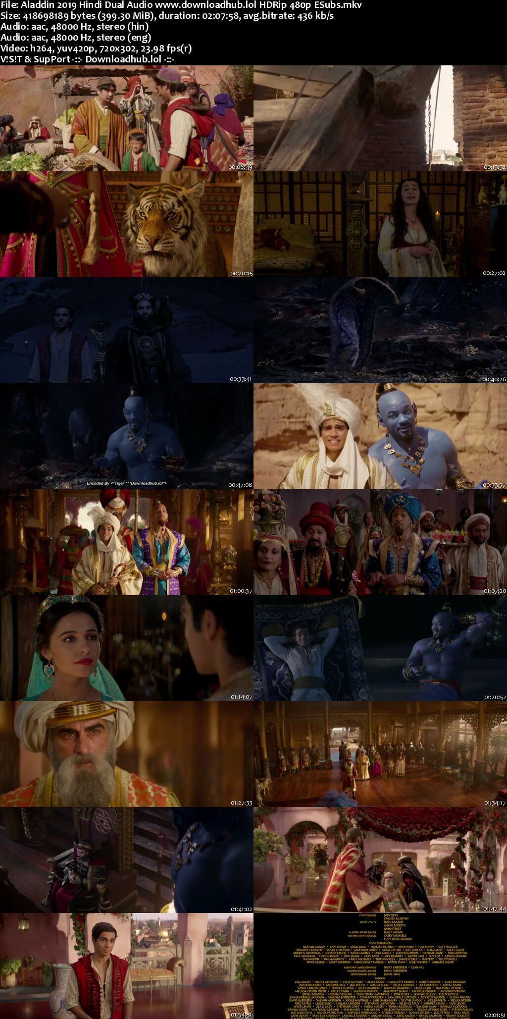Aladdin 2019 Hindi Dual Audio 400MB HDRip 480p ESubs