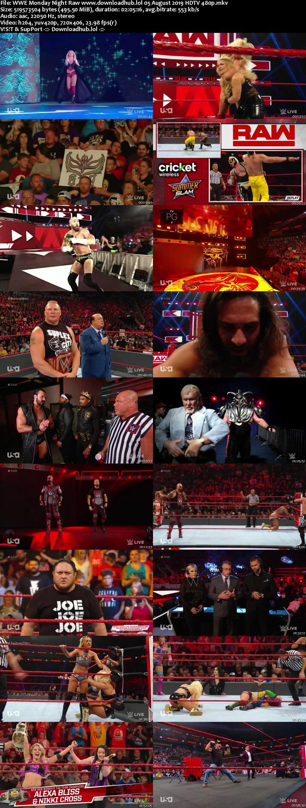 WWE Monday Night Raw 5th August 2019 500MB HDTVRip 480p