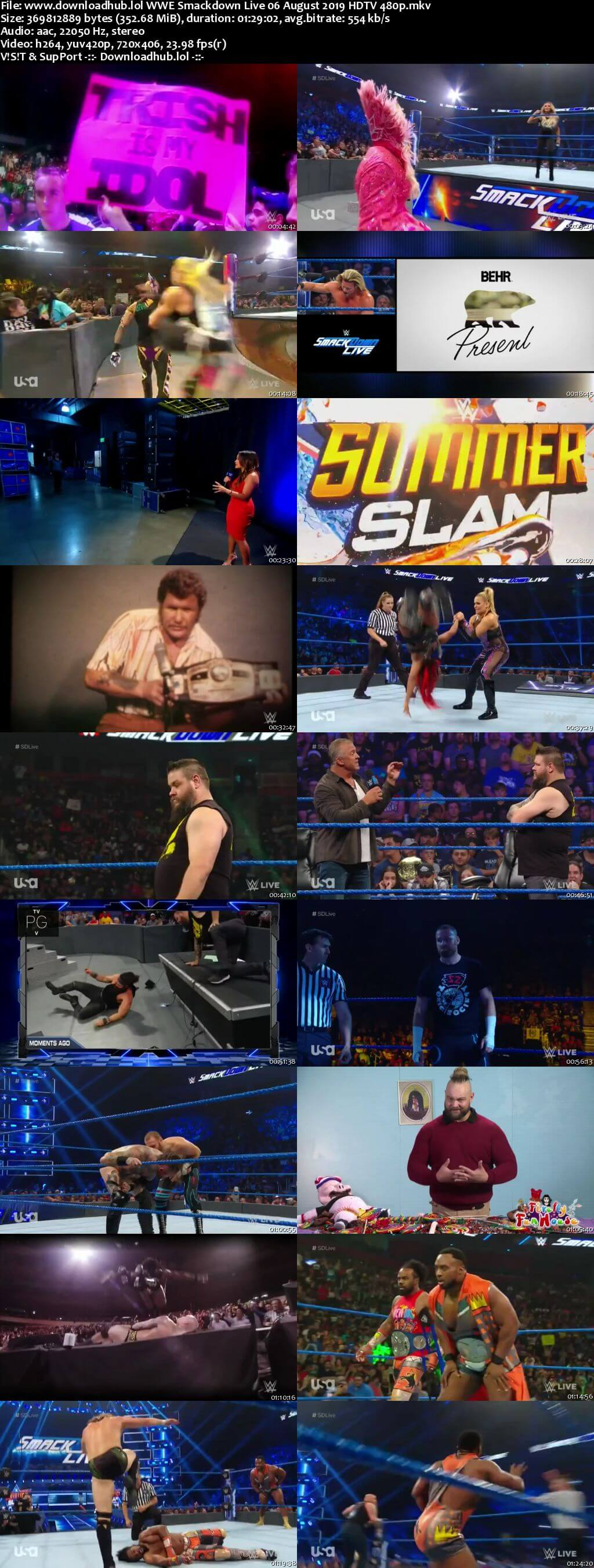 WWE Smackdown Live 6th August 2019 300MB HDTV 480p