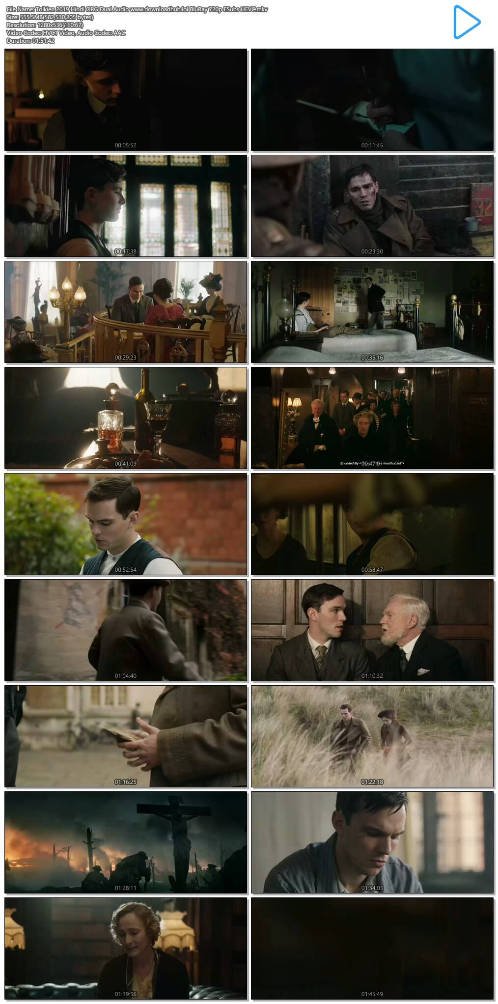 Tolkien 2019 Hindi ORG Dual Audio 550MB BluRay 720p ESubs HEVC