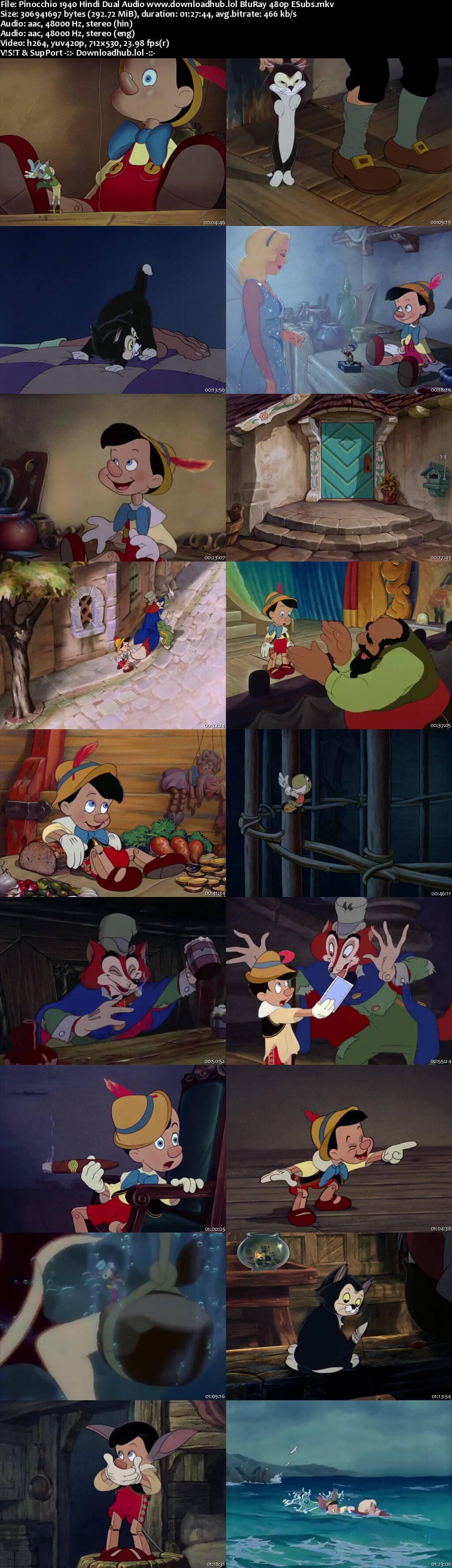 Pinocchio 1940 Hindi Dual Audio 280MB BluRay 480p ESubs