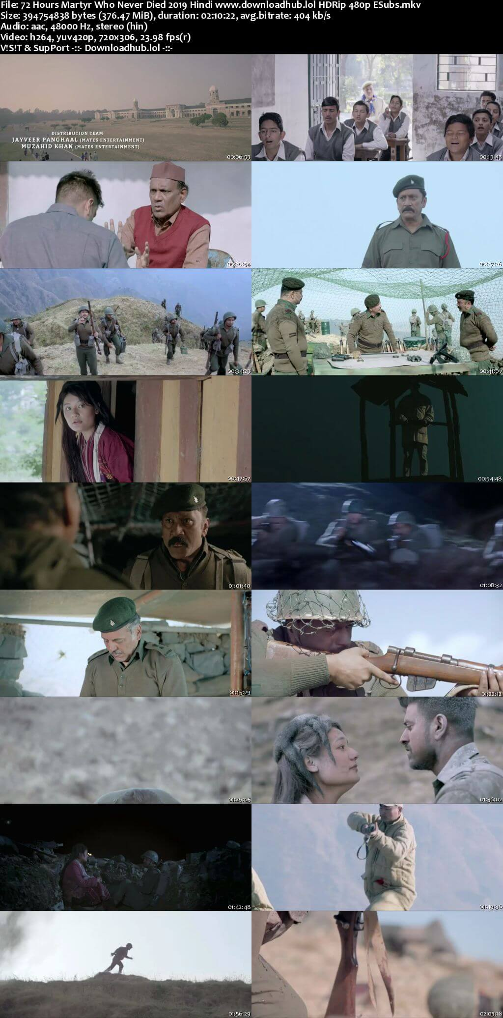 72 Hours Martyr Who Never Died 2019 Hindi 350MB HDRip 480p ESubs