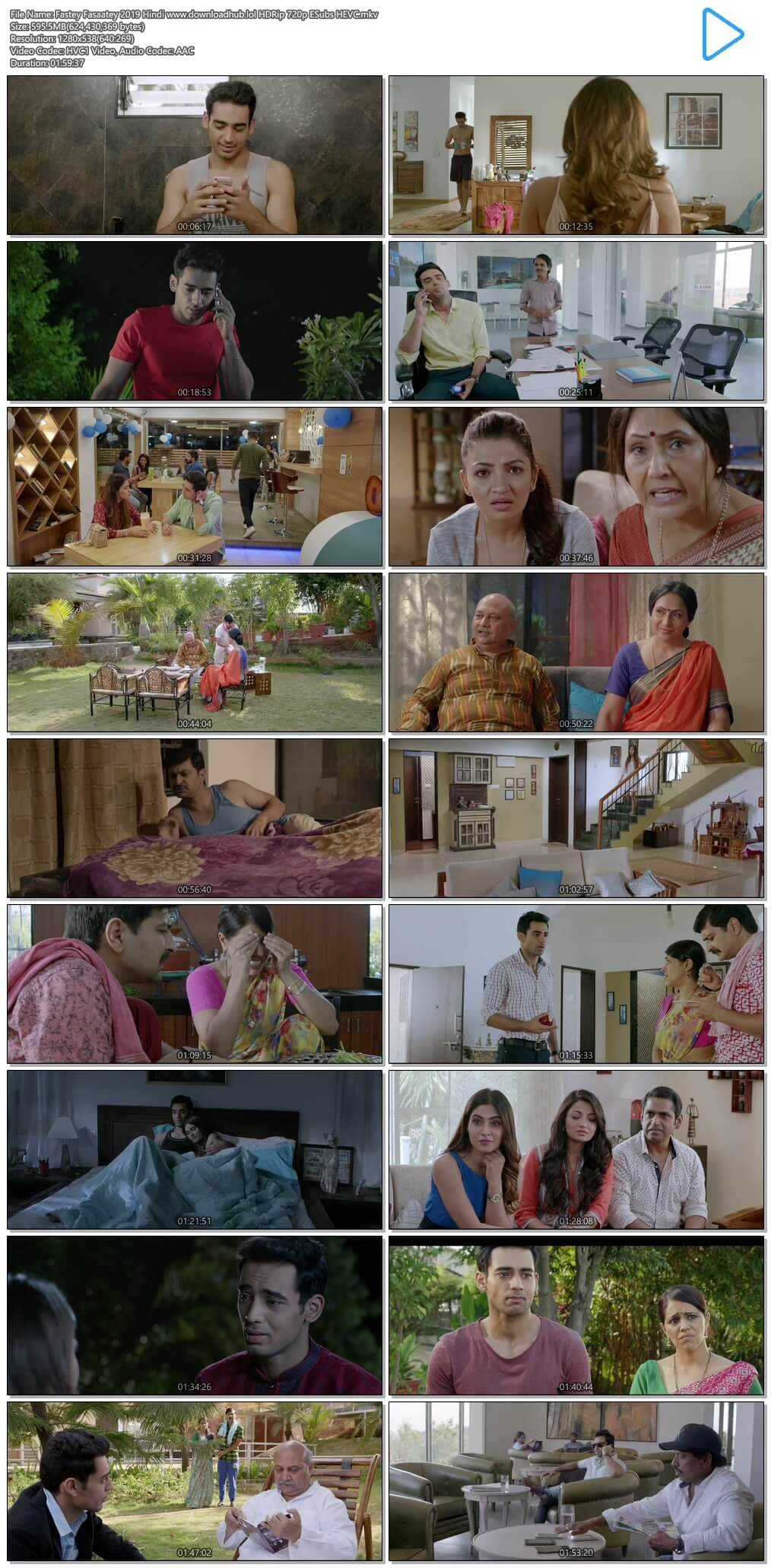 Fastey Fasaatey 2019 Hindi 600MB HDRip 720p ESubs HEVC