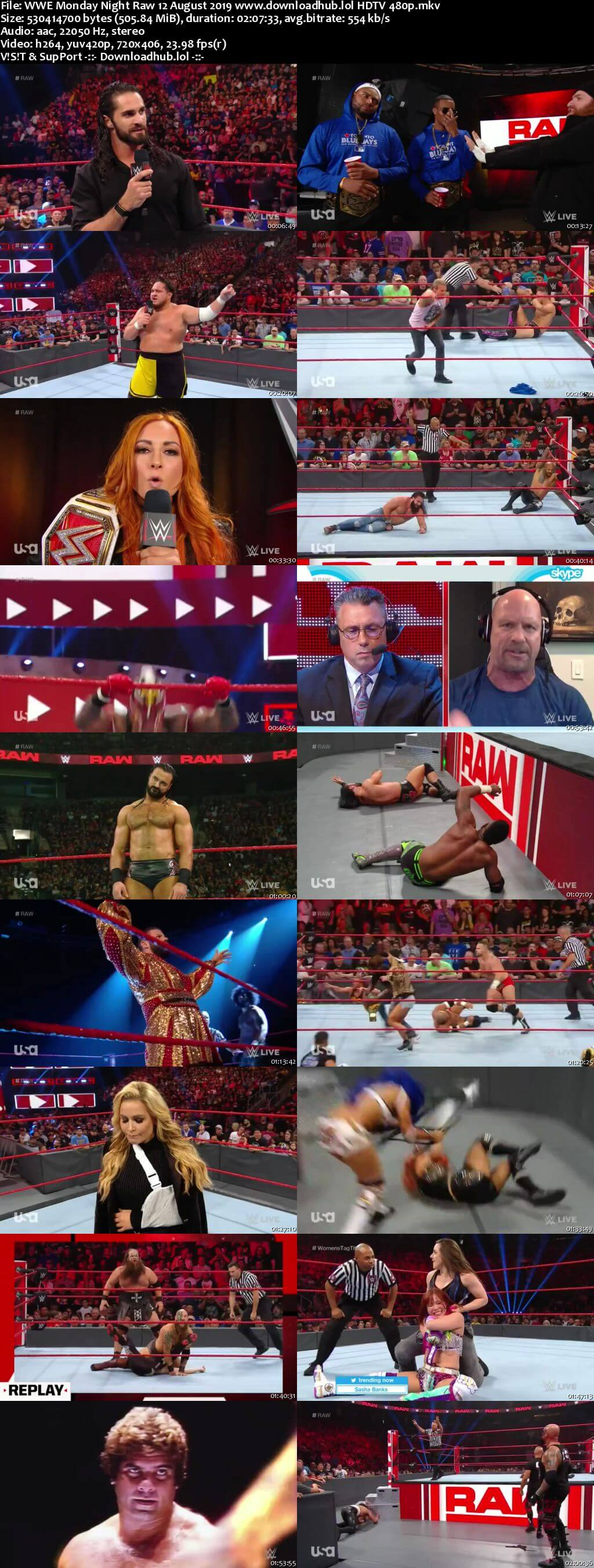 WWE Monday Night Raw 12th August 2019 500MB HDTVRip 480p