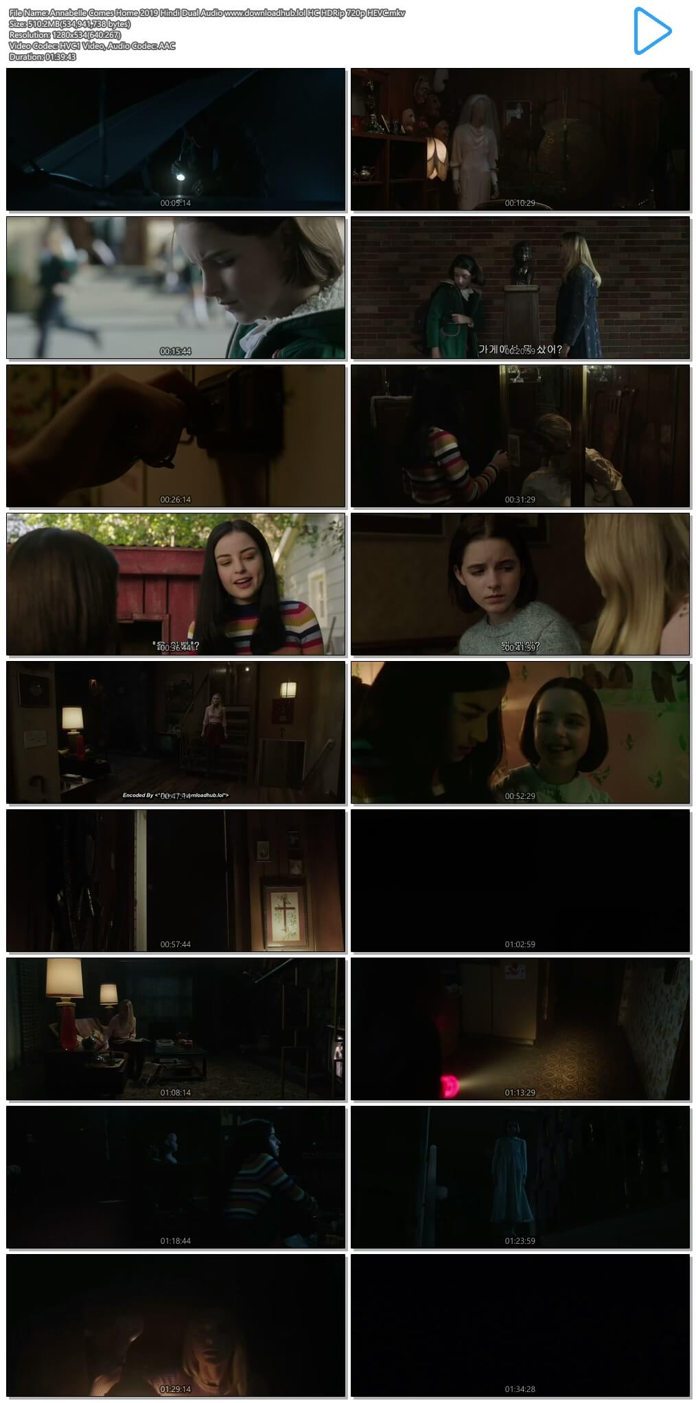 Annabelle Comes Home 2019 Hindi Dual Audio 500MB HC HDRip 720p HEVC