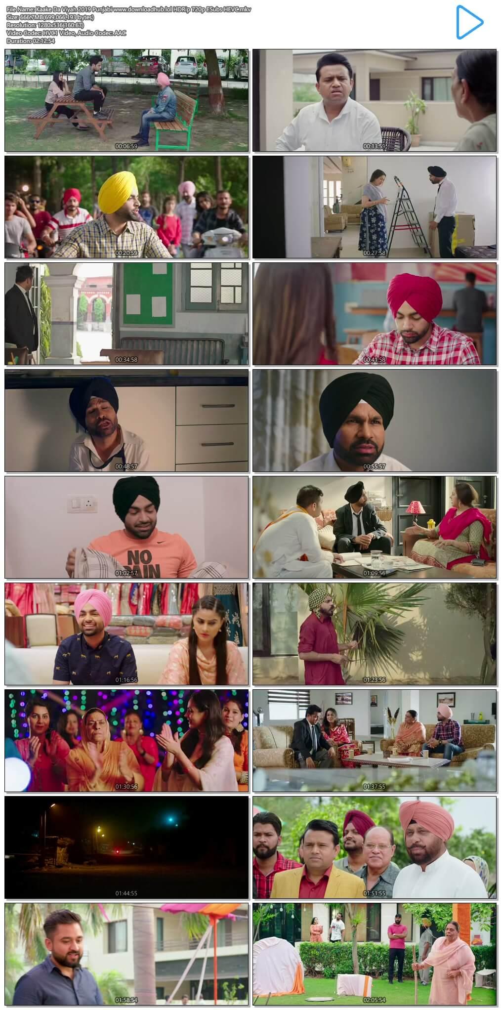 Kaake Da Viyah 2019 Punjabi 650MB HDRip 720p ESubs HEVC